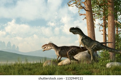 Two monolophosauruses hunt. Monolophosaurus was a carnivorous theropod dinosaur that lived in Jurrasic era in China. For a short time it was called Jiangjunmiaosaurus. 3D Rendering