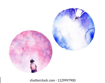 Two moons. Beautiful girl and boy. Valentine's Day. Love card. Romantic couple background.