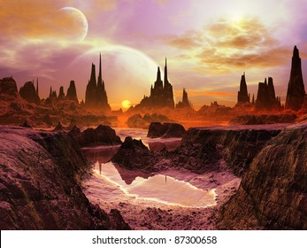 Two Moons over Alien Landscape at Twilight
