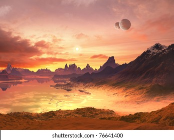 Two Moons over Alien Ocean at Sunset