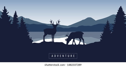 two moose in wildlife at beautiful lake in blue mountains illustration