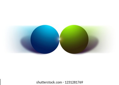 Two moving balls and their collision isolated on white background