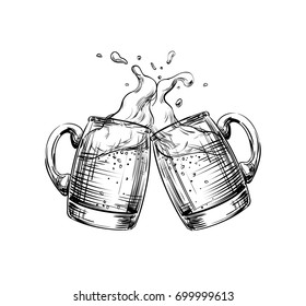 Two Mugs of Beer clink at a toast with a splash of beer foam. Hand drawn illustration for design menu restaurants, pubs, bars, posters for the Festival, Oktoberfest, brewery, banners, sketch