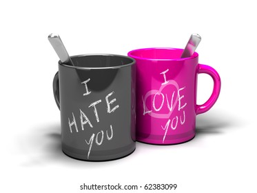 two mugs where it 's written i love you and i hate you concept of a love-hate relationship
