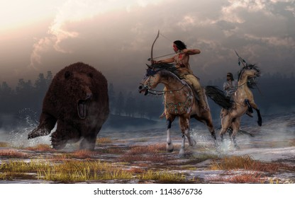 Two Native American warriors on the backs of mustangs encounter a massive brown bear on a snowy field under cloud filled evening skies. The lead hunter draws back his bow and takes aim. 3D Rendering