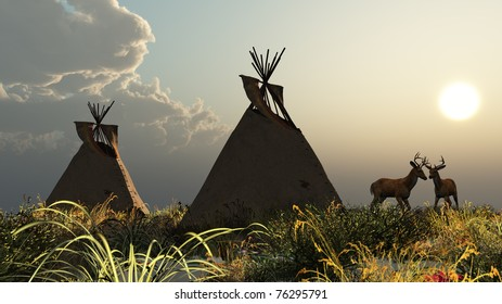 Two North American Indian Tepees in the tall wild grass of the Plains. Tall grass hazy cloud and sun sky. Two White Tail Deer bucks with antlers. Original illustration