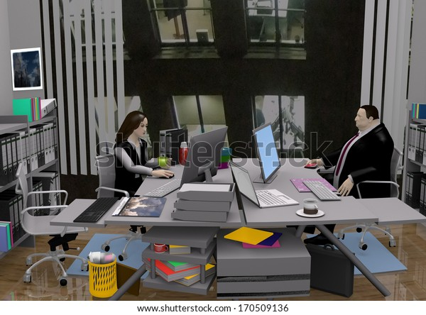 two office workers, a man and a woman, sitting in a gray colored office, at their desks and working, 3D illustration, raster illustration