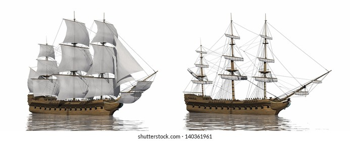 Two old merchant ship, one with extended sails and the other with furled ones, in white background