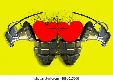 Two open combat grenades with red hearts in the scope. The concept of strong feelings and love. Bright yellow background. Valentine's Day.