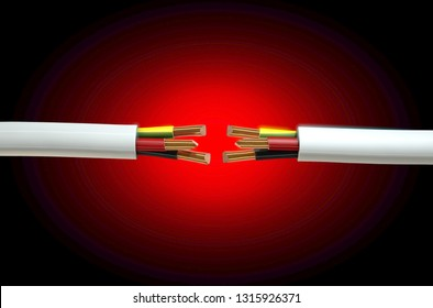 Two opposing regular three core insulated electrical cable with the copper wire cut and exposed on an isolated white studio background - 3D render