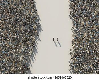 dos grupos de la oposición, 3d ilustración