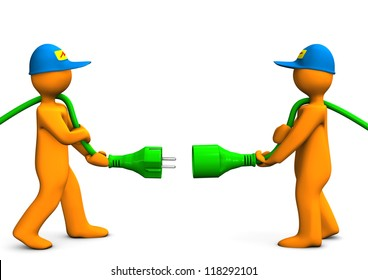 Two orange cartoon characters with green connector.