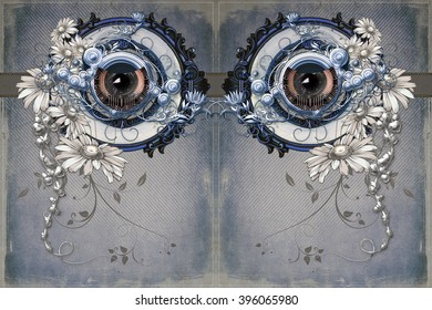 Two ornamented eyes in direct eye contact