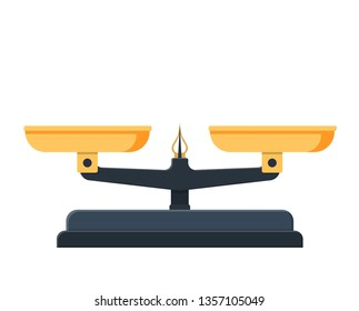 Two pan balance icon. Weighing scale with golden pans and pointer and gray base. illustration in flat style Raster version.