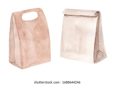 Two paper packs isolated on white background. Watercolor craft packages for food.