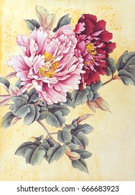 Two peonies pink and red painted in Chinese style