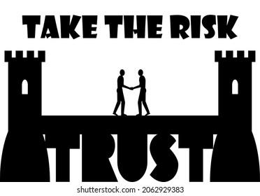 信頼の上に建てられた橋の真ん中で2人の人が出会い、握手を交わし、リスクモチベーションカード、チームワークコンセプトを取り、コンフォートゾーンを残す