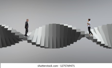 two people standing on opposite sides of a spiral staircase, 3d illustration
