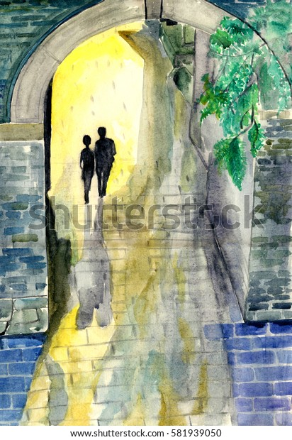 Two people's figure disappeared in the night,watercolor illustration