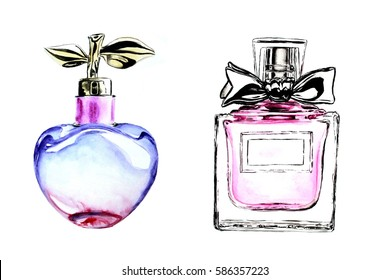 Two perfume bottles violet pink  glass fragrance watercolor illustration, fashion sketch, art print, two pictures on white background