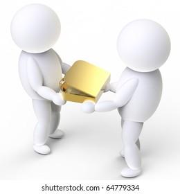two person handover a golden suitcase