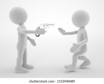 two person one man gun on hand harmful concept 3d high quality illustration