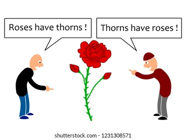 Two person point of views on roses and thorns