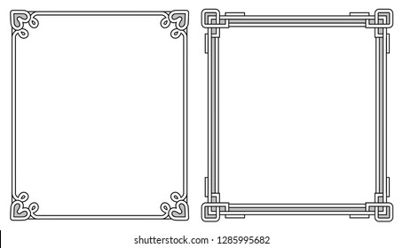 Two photoframes with decor elements at each corner on top and on bottom, empty inside raster illustration isolated on white background, colorless border