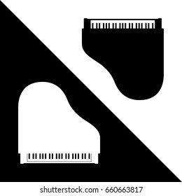 Two Piano Instruments Making Yin Yang Sign Style Composition - Black and White on Opposite Background - Pictogram Silhouette Style Illustration