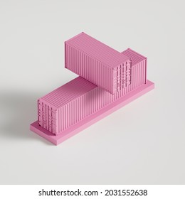 two pink sea containers of different sizes one by one, gift or pedestal, banner or poster, 3d rendering