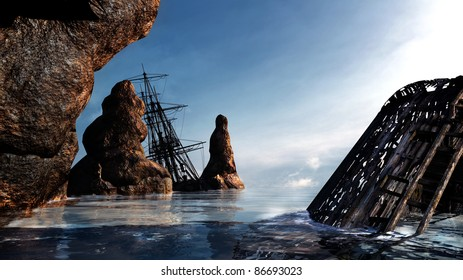 Two pirate ships, wrecked along the rocky coast. Shallow water, blue sky, light clouds sunny. Illustration