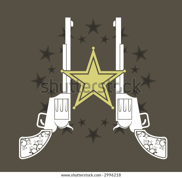 two pistols overlaid by a sheriff badge