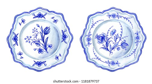 Two plates with blue floral pattern, watercolor drawing on white background, isolated.