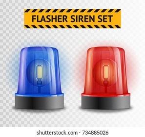 Two police flasher sirens set isolated on transparent background realistic  illustration