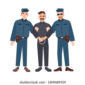 Two policemen in uniform holding male criminal or prisoner in handcuffs. Arrested man escorted by pair of police officers. Flat cartoon characters isolated on white background. illustration