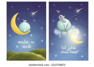 Two post cards set. Wish star. Let wishes come true. Funny sheep and moon. Take a moon from sky