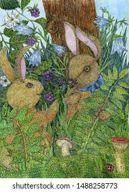 Two rabbits. Forest. Grass and flowers. Drawing with colored pencils and ink. Illustration for the decor and design of posters, prints, textiles, stickers, postcards and invitations.