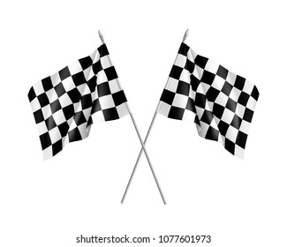 Two racing flags crossed realistic. Pair of standards for marking start and finish.  illustration