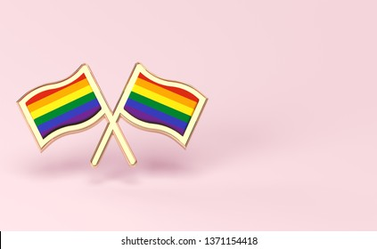 Two rainbow flags. Gay pride month or day concept. Isolated on pastel pink background with copy space. 3D rendering