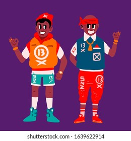 Two rap friends - afro american bad boys. Brooklyn gangsters. Funny fashinable swag guys. Hip hop bro, rappers. Fashion and street wear New York concept. Game cartoon characters. Raster image