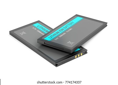 Two rechargeable Li-ion batteries on white background, 3D illustration