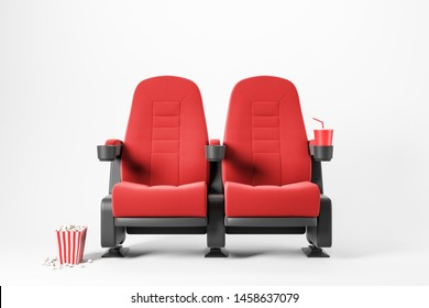 Two red cinema chairs with fizzy drink and box of popcorn over white background. Concept of entertainment. 3d rendering