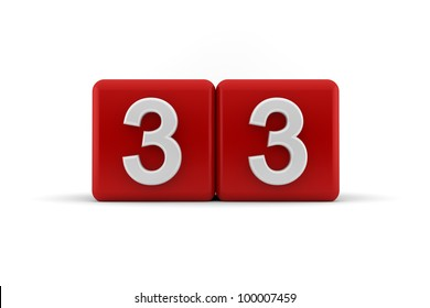 Two red cubes with the number 33 in white embossed and bevelled digits to celebrate a thirty-third birthday, 3d render on white