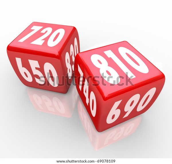 Two red dice with credit scores on their faces