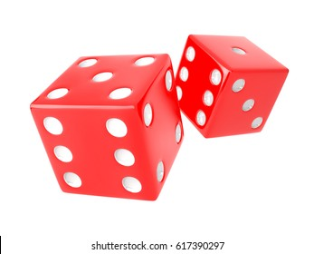 Two red Dices on white background. 3D render
