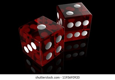 Two Red plastic transparent dice on black background with ground reflections. 3D rendering
