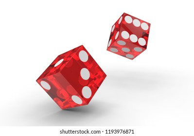 Two Red plastic transparent dice rolls on white background. 3D rendering