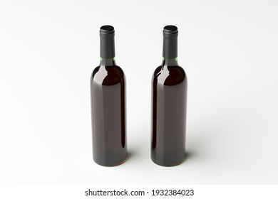 Two red wine bottles 750ml mock up on the white background. View above. 3d illustration