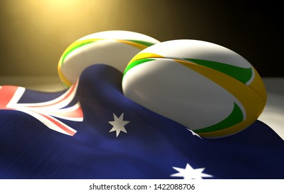Two regular rugby balls with color design elements resting on a draped australia flag on an isolated dark studio background - 3D render