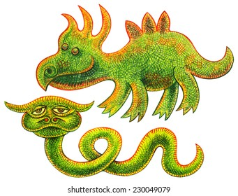 Two reptiles - funny dinosaur and unusual green snake with horns - pencil drawing